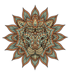 Colorful lion mandala vector