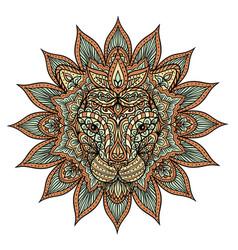 colorful lion mandala vector image vector image