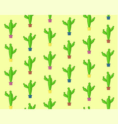 Cute cartoon seamless cactus pattern vector