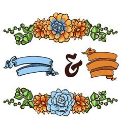 Decorative floral element of succulents vector image vector image