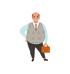 fat businessman with bald head holding brown vector image