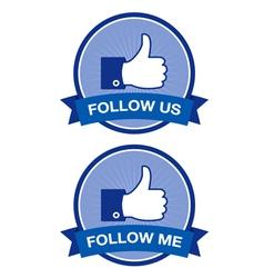 Follow me Follow us retro labels vector image
