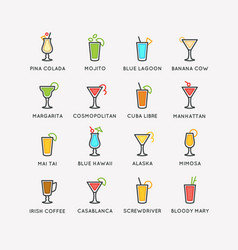 For bar menu set alcoholic cocktails vector