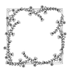 Gray scale frame with olive long branch contour vector