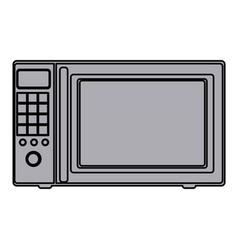 Grayscale silhouette with oven microwave vector