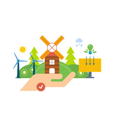Green energy ecology clean planet landscape vector
