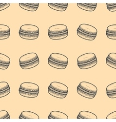 Hand drawn seamless macaroons background vector image