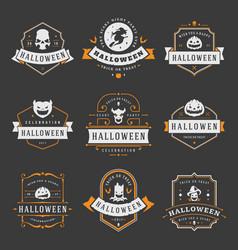 Happy halloween labels an badges design set vector