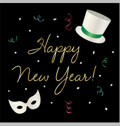 Happy new year graphic with tophat and mask vector
