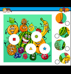 Match pieces puzzle with fruit characters vector