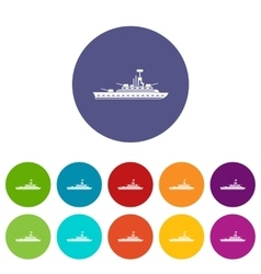 Military warship set icons vector