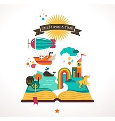 Open book with fairy tale elements and icons vector image vector image