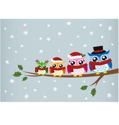 Owl family christmas greeting vector