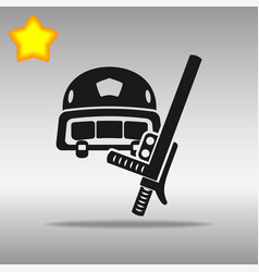 Police helmet and stick black icon vector