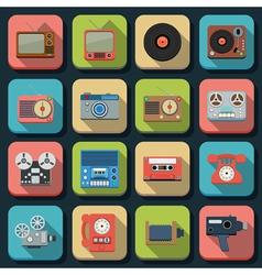 Retro electronic flat icons vector image
