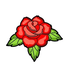 Rose retro tattoo symbol cartoon old school vector