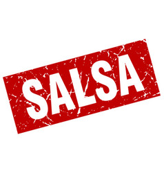 Square grunge red salsa stamp vector