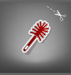 Toilet brush doodle red icon with for vector