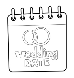 Wedding date icon outline style vector