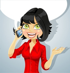 Cute brunette girl talking on the phone vector