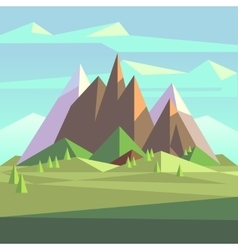 Snow rock mountains landscape in low poly vector