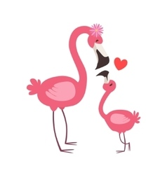 Pink flamingo mom with flower animal parent and vector