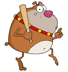 Brown bulldog tip toeing with baseball bat vector