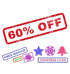 60 percent off rubber stamp vector
