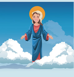 Virgin mary spiritual cloud sky bakcground vector