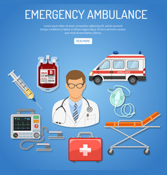 Medical emergency ambulance concept vector