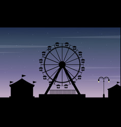Art of amusement park scenery silhouette vector