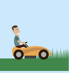 Lawnmower man flat style vector