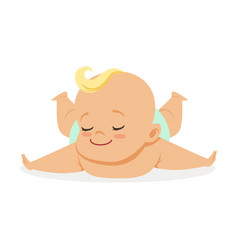 Sweet little baby lying on his stomach colorful vector