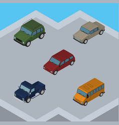 isometric car set of car suv auto and other vector image