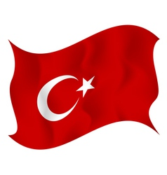 Flag of turkey waving on a white background vector