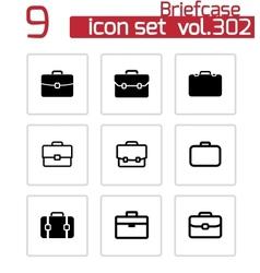 black briefcase icons set vector image