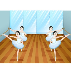 Ballet dancers rehearsing at the studio vector image