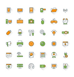 Computer and technology flat design icon set vector
