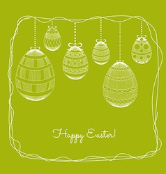 Easter eggs in doodle frame background vector image