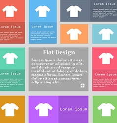T-shirt icon sign set of multicolored buttons with vector