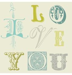 vintage letters vector image