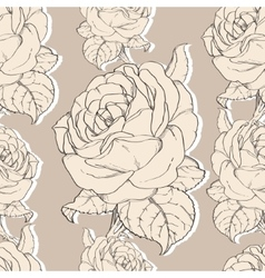Beige vintage roses fabric retro repeating vector