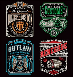 Vintage motorcycle t-shirt graphic set vector image