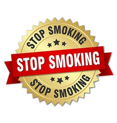 stop smoking 3d gold badge with red ribbon vector image