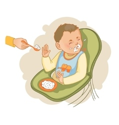 Baby boy in the baby chair refuses to eat pap vector