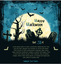 Blue grungy halloween background vector image vector image