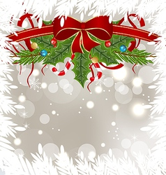 Christmas frosty card with holiday decoration vector image vector image