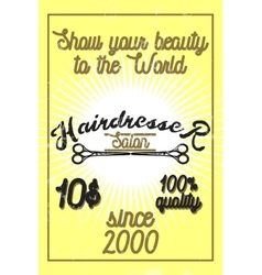 Color vintage hairdresser salon banner vector
