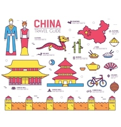 Country china travel vacation guide of goods vector