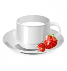 cup of milk and strawberry vector image vector image